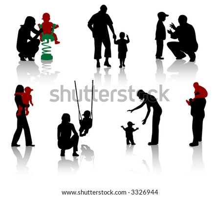 Silhouette of parents and children. Vector. - stock vector
