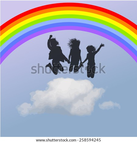 Silhouette of people jumping on the cloud, with a rainbow. Vector - stock vector