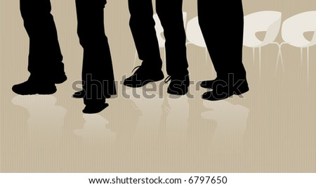Silhouette of people waiting in line or queue; row of chairs in background; Easy-edit layered file. - stock vector