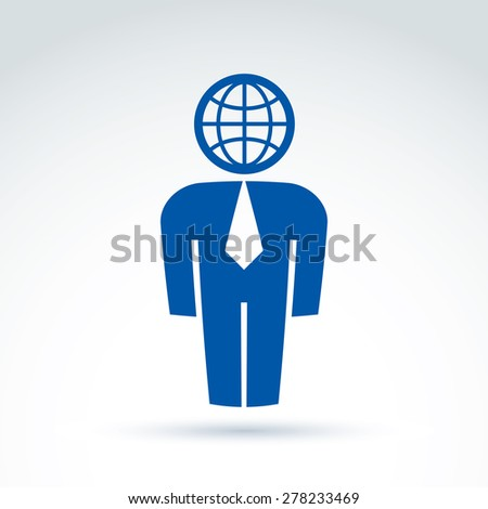 Silhouette of person standing in front - vector illustration of a manager.  Delegate, consultant, white-collar worker. Vector Earth symbol, global business icon. - stock vector