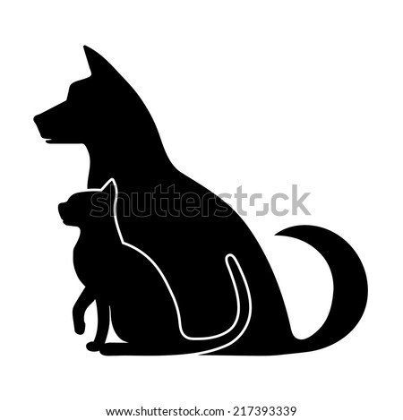 silhouette of pets - stock vector