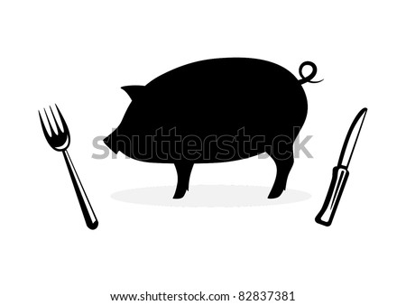 Silhouette of pig - stock vector