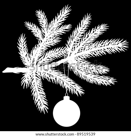 Silhouette of Pine Tree Branch with Christmas Ball on Black Background. Vector Illustration - stock vector