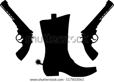 silhouette of pistols and boot with spurs. vector illustration - stock vector
