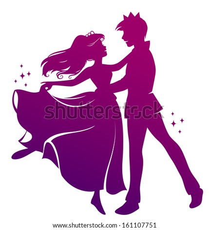 silhouette of prince and princess dancing  - stock vector