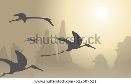 Silhouette of pterodactyl beautiful landscape