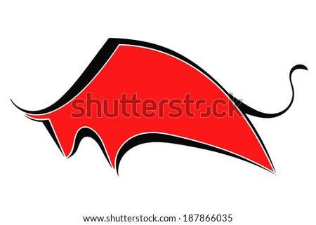 Silhouette of red bull - stock vector