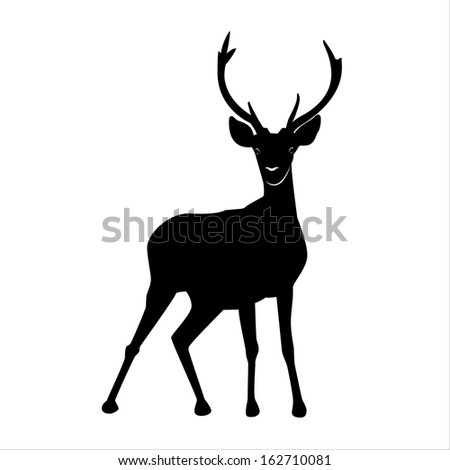 Silhouette of red deer on white background - stock vector