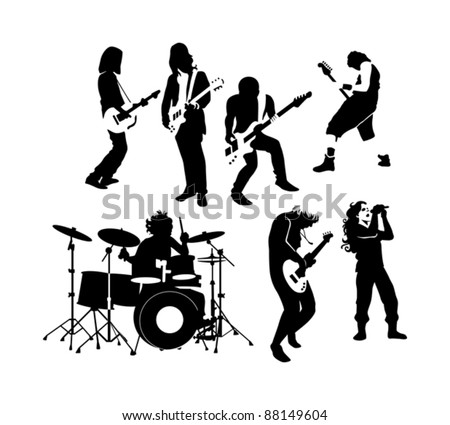 silhouette of rock and roll musicians - stock vector