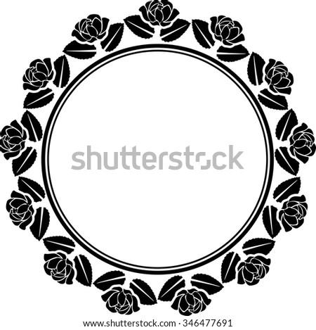 silhouette of roses border - stock vector