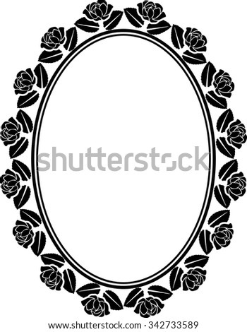 silhouette of roses frame - stock vector