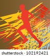 Silhouette of runner vector in front of colorful abstract background - stock vector