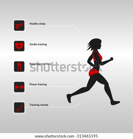Silhouette of running woman and fitness infographic - stock vector