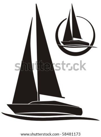 silhouette of sailboat, vector sign for sailing. - stock vector