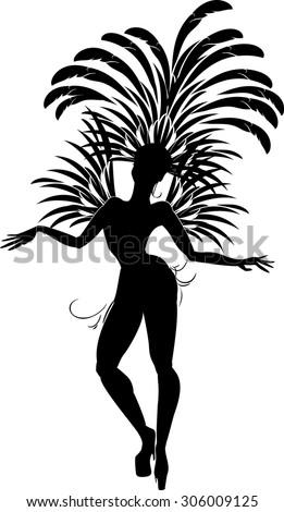 silhouette of samba dancer - stock vector