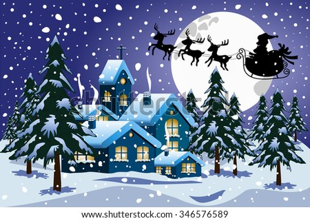 Silhouette of santa claus on sleigh flying at christmas nighttime over little town under snowfall