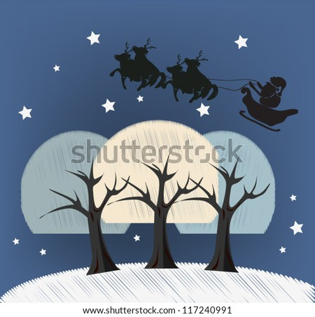 Silhouette of Santa Claus Winter Landscape