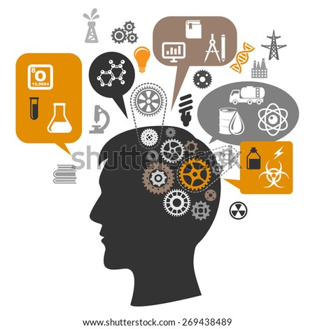 Silhouette of scientist head thinking about chemistry research with brain gears and thought bubbles around him showing laboratory tests, oil refining innovations, and saving resources icons - stock vector