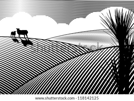 Silhouette of sheep at field in woodcut style - stock vector