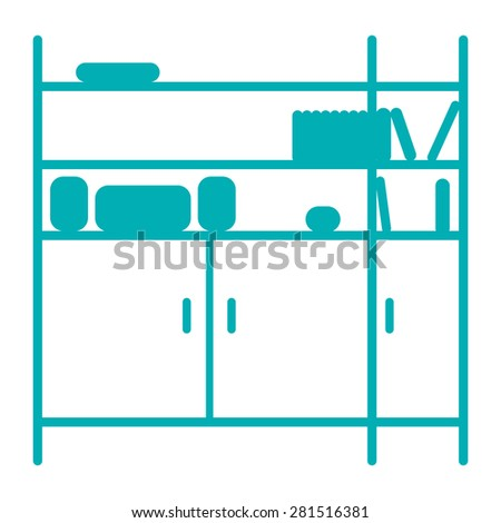 Silhouette of shelving. Blue and white. Isolated on white background. - stock vector