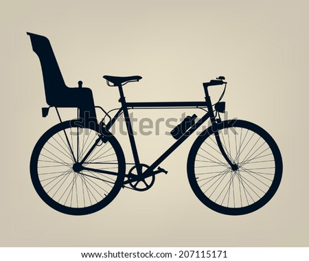 Silhouette of single speed traditional geometry diamond frame urban bicycle with back baby seat
