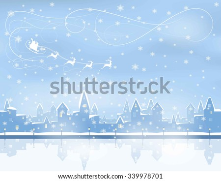 silhouette of snowing  winter town, river, embankment,  santa claus in sleight, reindeers, vector illustration - stock vector