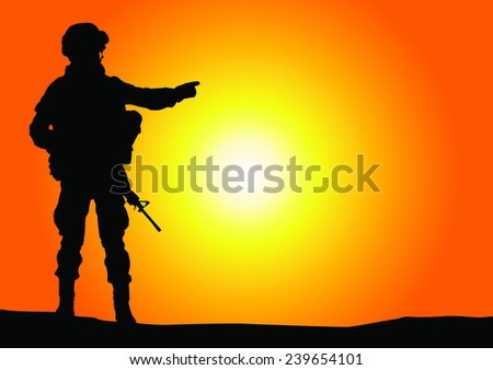 Silhouette of soldier pointed the finger with rifle against a sunset vector image - stock vector