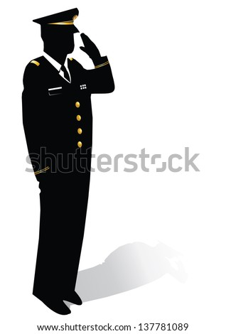 Silhouette of soldier saluting - stock vector