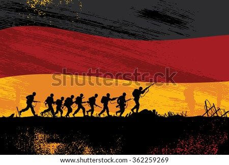 Silhouette of soldiers fighting at war with flying flag of German as a background - stock vector