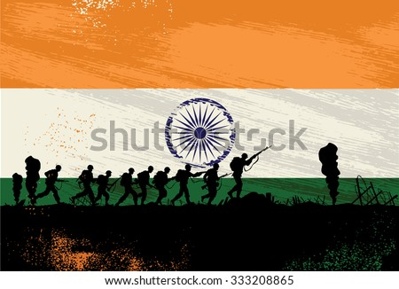 Silhouette of soldiers fighting at war with India flag as a background