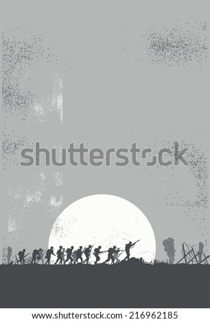 Silhouette of soldiers in the battlefield - stock vector