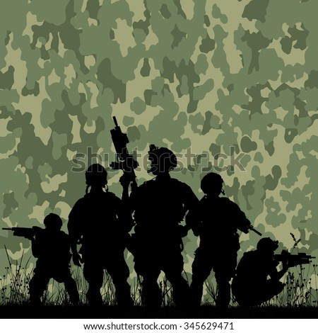 Silhouette of soldiers with rifle against a camouflage pattern background - stock vector