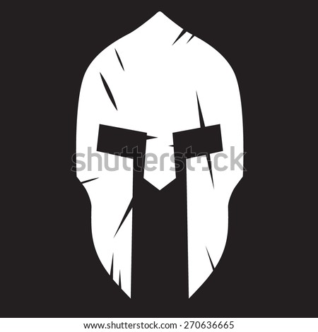 Silhouette of Spartan helmet with scratches from shock. Vector Illustration isolated on background. - stock vector
