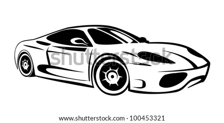 Silhouette of sport car for racing sports - stock vector