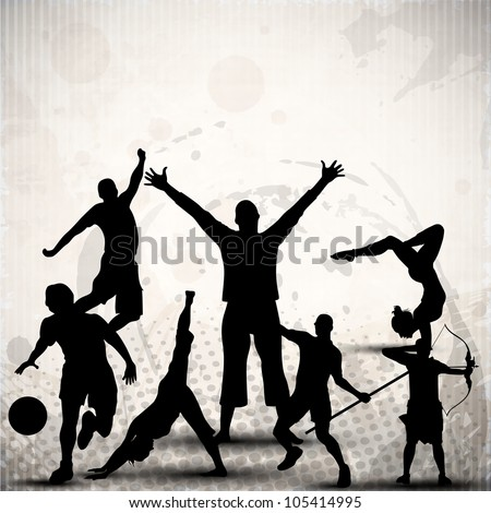 Silhouette of sports persons or athletes on abstract grungy grey background. EPS 10. - stock vector