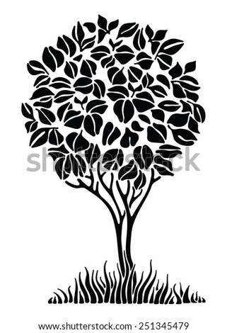 Silhouette of spring tree on white background - stock vector