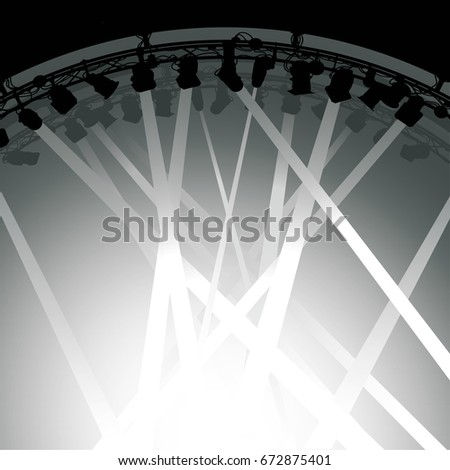 lighting for beams. Silhouette Of Stage Lighting Rig With Beams Light Shining Down On A Stage. For