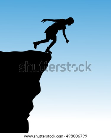 Silhouette of standing woman on cliff, vector