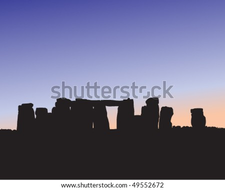 Silhouette of Stonehenge at dusk or dawn. - stock vector
