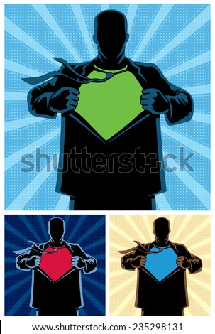 Silhouette of superhero under cover with copy space for your logo on his chest. 3 different color versions. No transparency and gradients used.  - stock vector