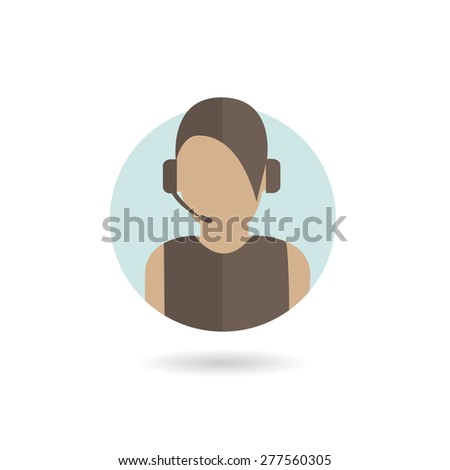 Silhouette of support phone woman operator in headset, online symbol, call center logo, helpline sign.  - stock vector