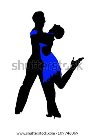 silhouette of tango dancers - stock vector