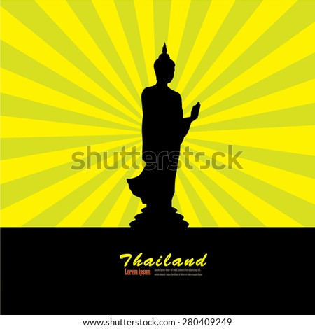 Silhouette of Thai Buddha.buddha.vector illustration. - stock vector