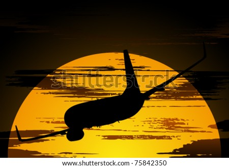 Silhouette of the airliner against the evening sky with clouds - stock vector