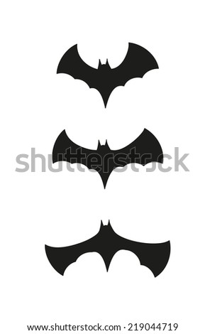 silhouette of the bats on white background, vector