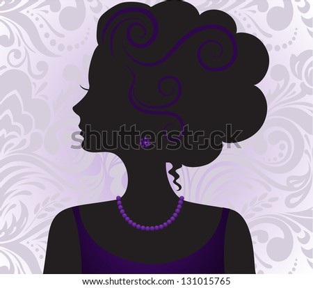 silhouette of the beautiful girl with a high hairdress on a violet ornament - stock vector