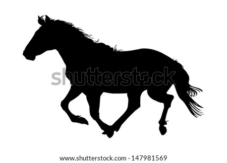silhouette of the black horse vector illustration - stock vector