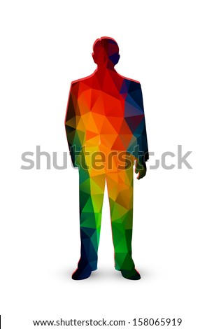 silhouette of the businessman from color polygons - stock vector