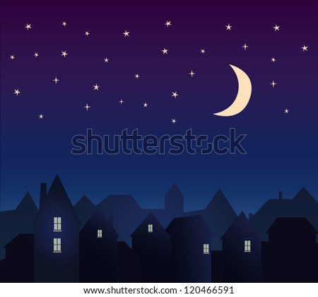 Silhouette of the city and night sky with stars and moon. - stock vector
