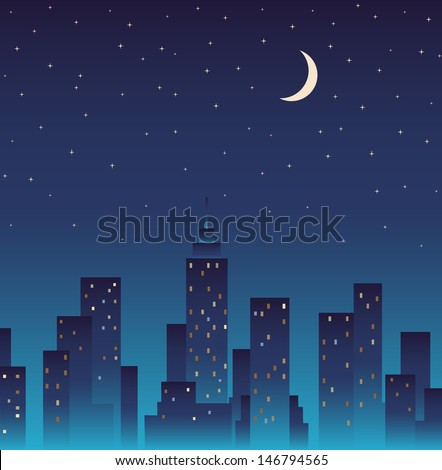 Silhouette of the city and night  with stars and moon at the sky. - stock vector